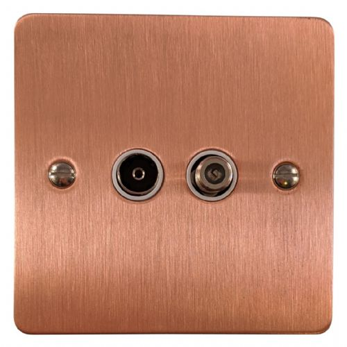 G&H FRG38W Flat Plate Rose Gold 1 Gang TV Coax & Satellite Socket Point